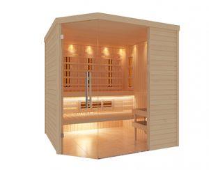 Sauna finlandais traditionnel combiné infrarouge Aquilus